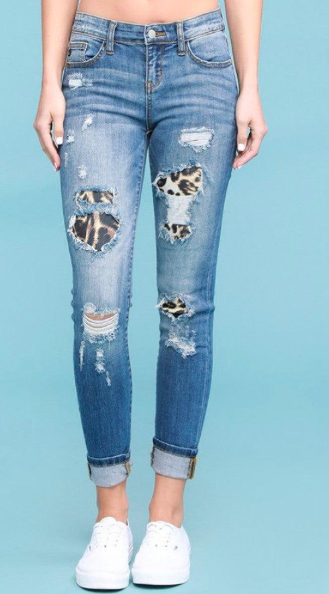 Leopard Patch Distressed Mid Rise Blue Jean