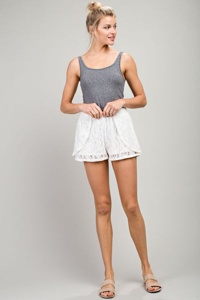 Cream Solid Lace Shorts
