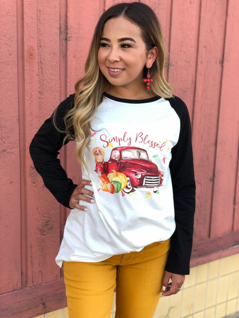 Simply Blessed Harvest Red Truck Raglan Top
