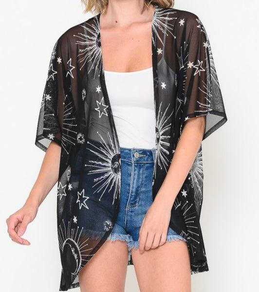 Black Sun & Moon Sheer Kimono
