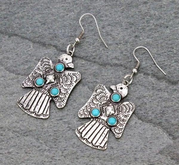 Thunderbird Turquoise Stone Silver Earrings
