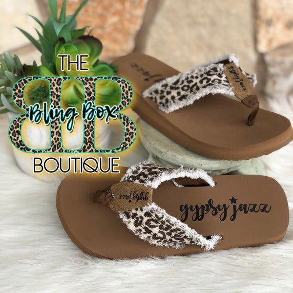 Gypsy Jazz Cream Leopard Flip Flops