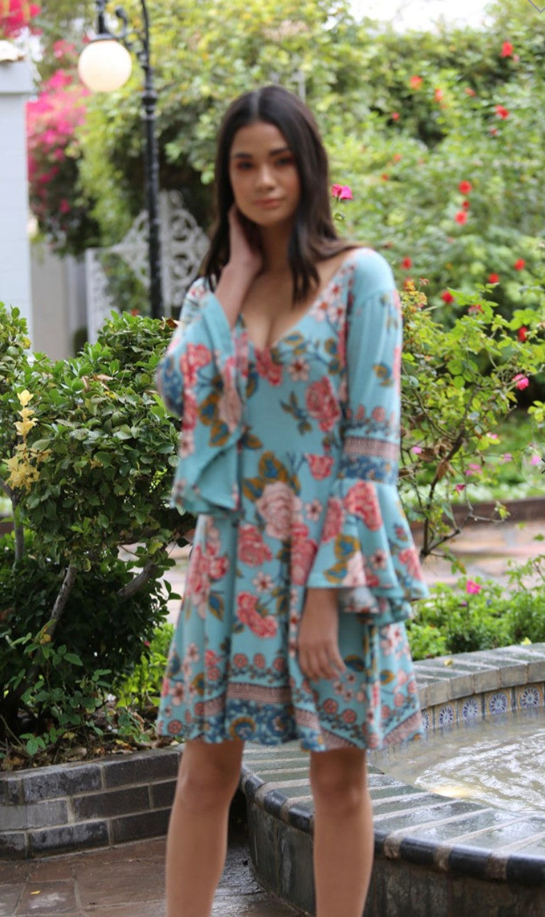Angel Sleeve Floral Knit Dress