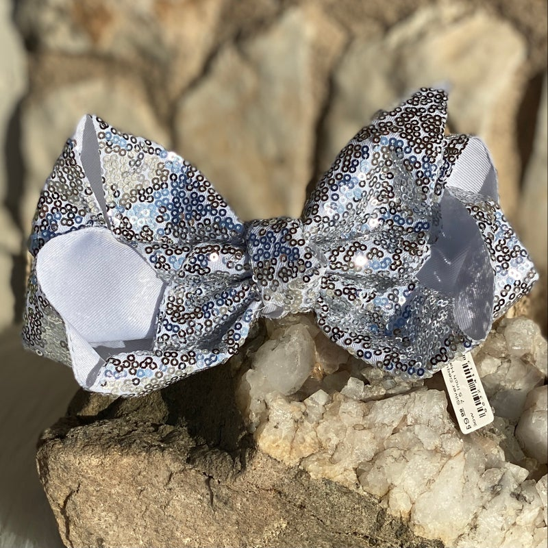 Silver Sequin 7.5 Inch Hair Bow