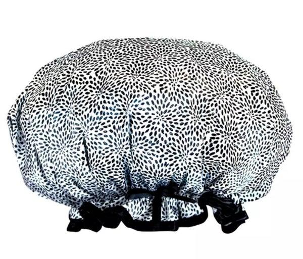 Garden Doodle Print Black & White Shower Cap