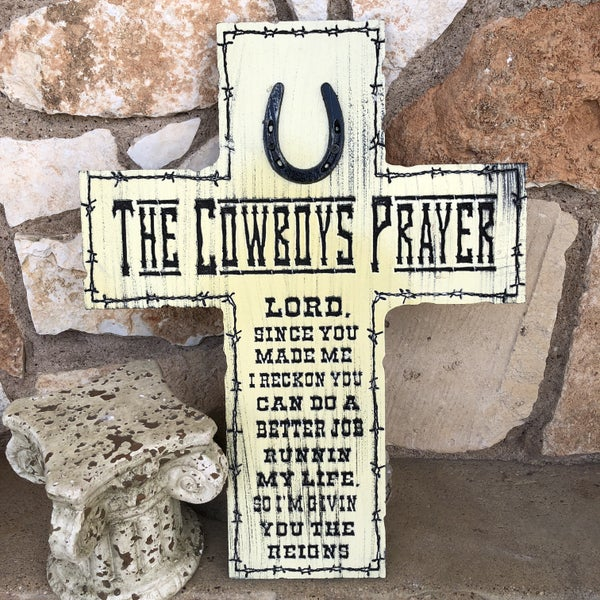 Ivory Horse Shoe Cowboy Prayer Cross