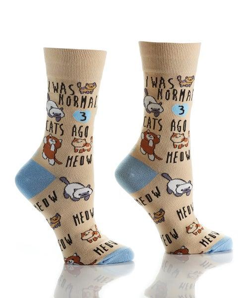 I Was Normal 3 Cats Ago Crazy Socks