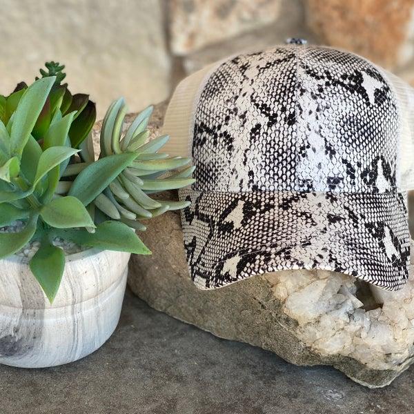 Snake Skin Print Pony Hat