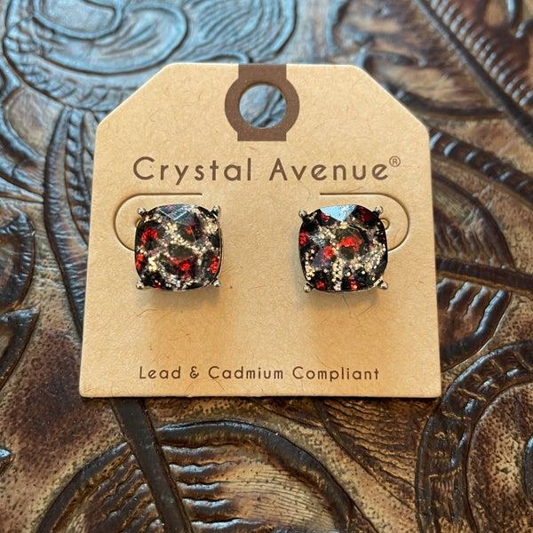 Maroon & Silver Glitter Leopard Stud Earrings