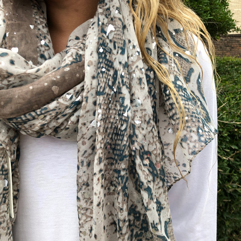 Teal/Taupe Mix Snakeskin Scarf