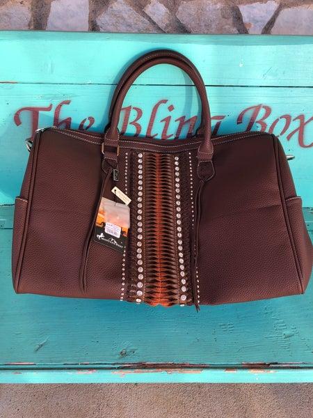 Montana West Dark Brown Rhinestone Weekender Bag