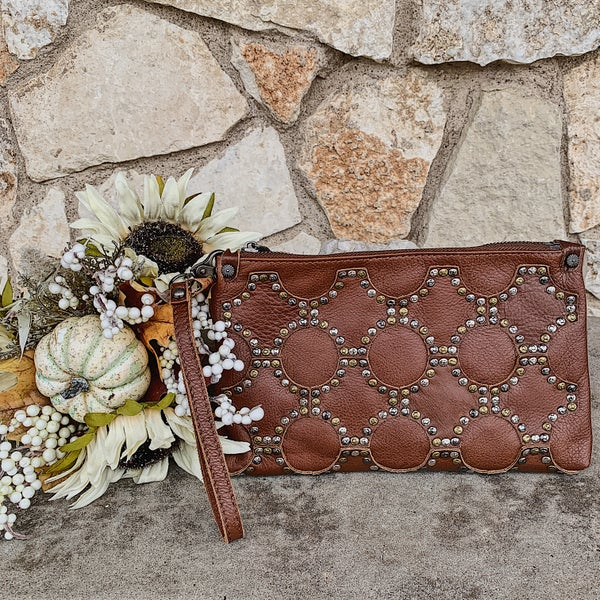 Soft Genuine Leather Studded Brown Crossbody Bag