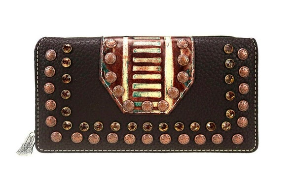 Trinity Ranch Embossed Collection Secretary Style Wallet - Dark Brown