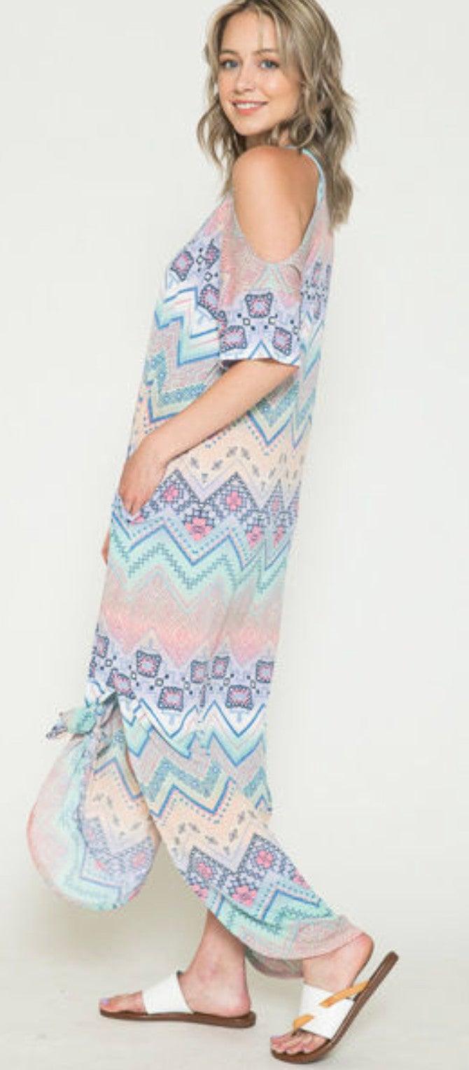 Lavender Aztec Chevron Cold Shoulder Maxi Dress
