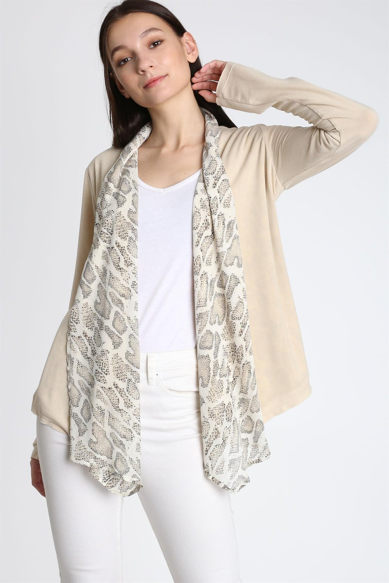 Sand Open Front Snake Print Cardigan