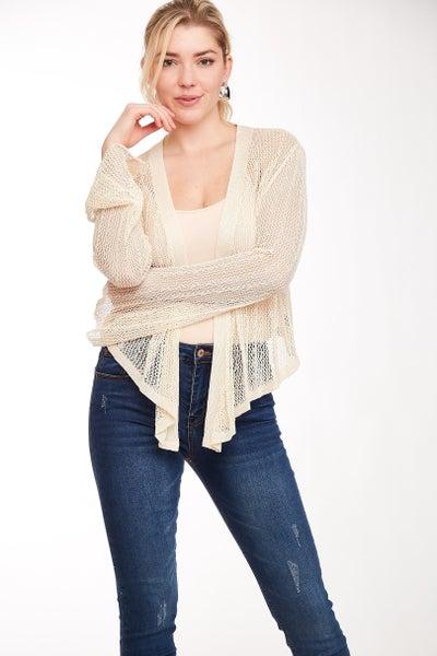 Cream Crochet Open Front Bell Sleeve Top