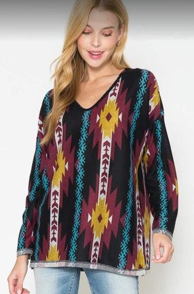 Multicolor Aztec Long Sleeve Top