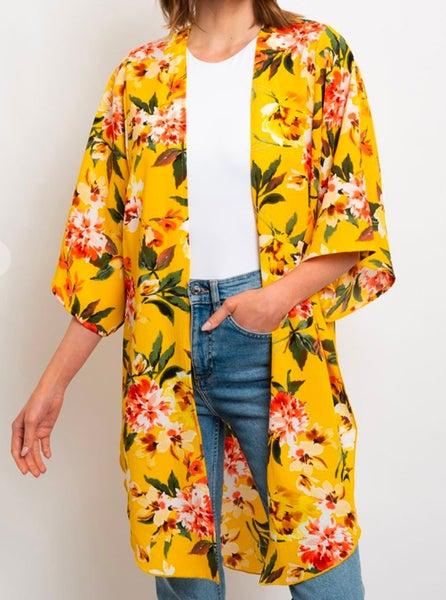 Bright Floral Yellow Mix Kimono