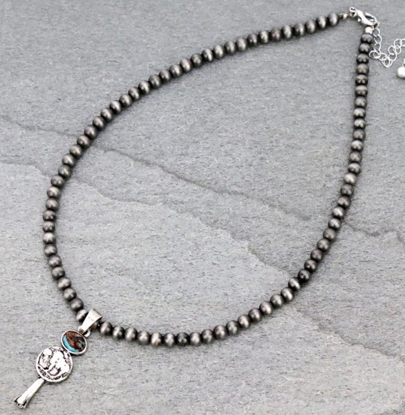 """Navajo Style Pearl with Single Squash Buffalo Pendant 18"""" Necklace"""