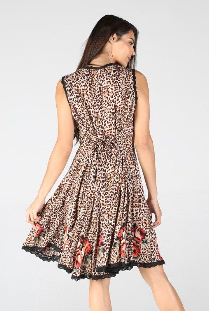 Leopard Sleeveless Crinkle Floral Lace Trim Dress