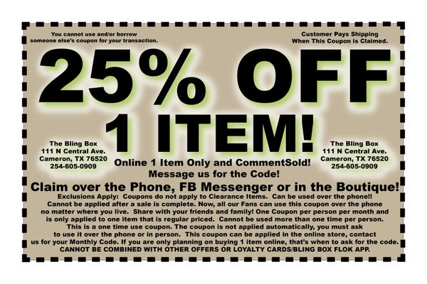 25% OFF COUPON - FB MESSAGE US TO CLAIM