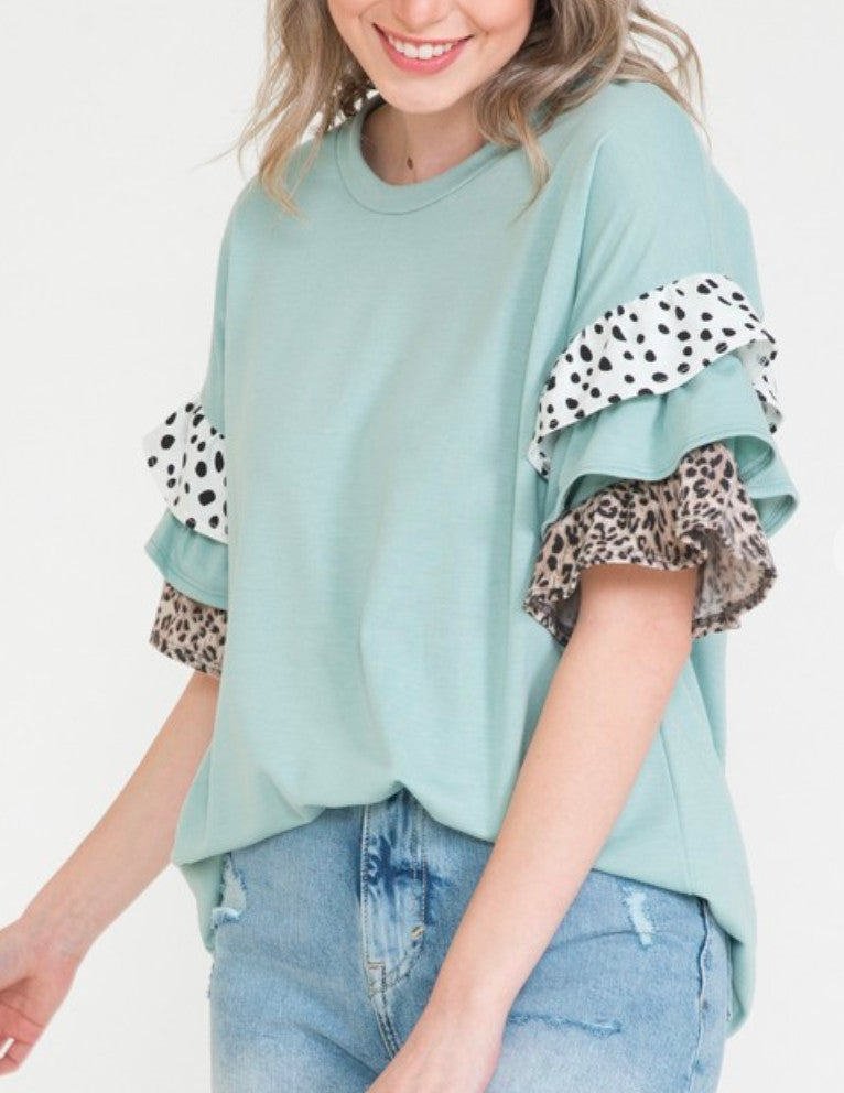 Mint Speckled Leopard Ruffle Sleeve Top