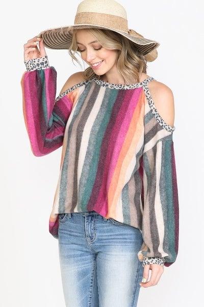 Multi Color Striped Leopard Trim Cold Shoulder Top