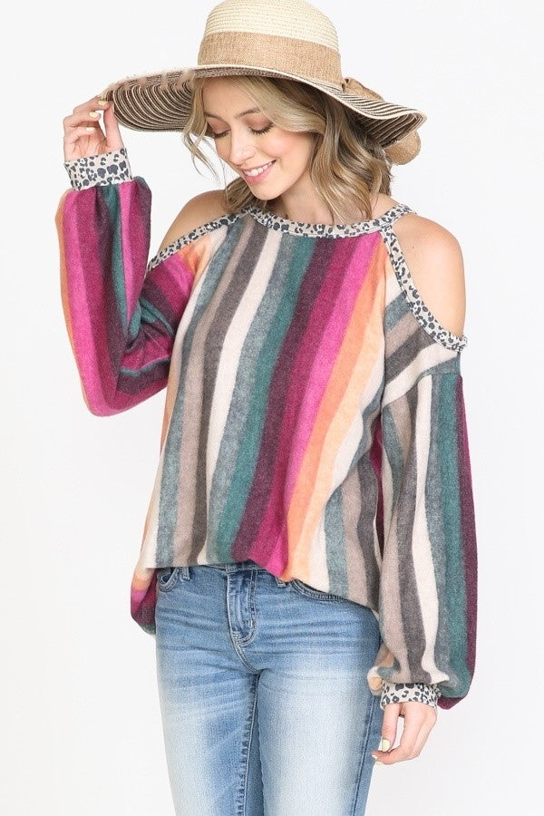Multi Color Striped Leopard Trim Cold Shoulder Top