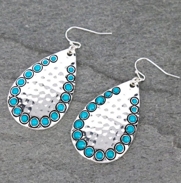 Hammered Turquoise Stone Trimmed Teardrop Earrings