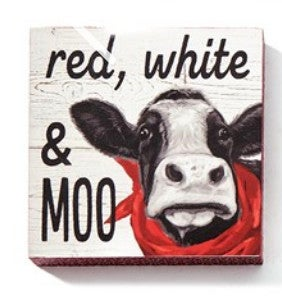 """Red, White & Moo Cow Wall Block Decor 5""""H X 5""""W"""