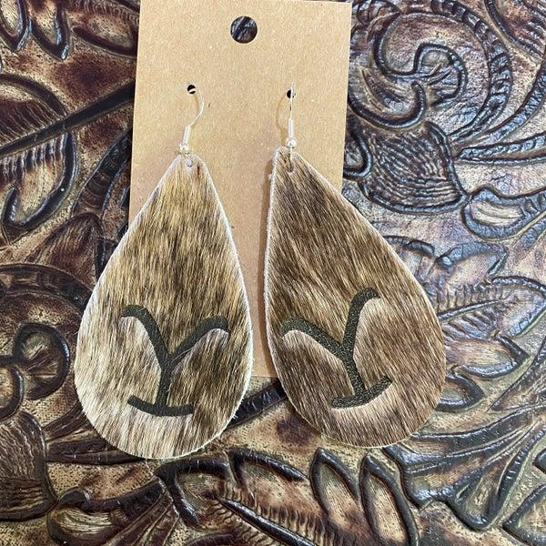 Yellowstone Brindle Branded Leather Teardrop Earrings #1