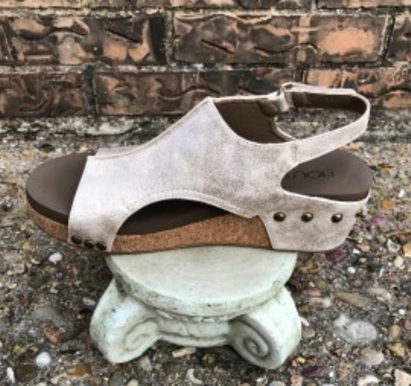 Gold Metallic Volta Wedge Sandal SIZE