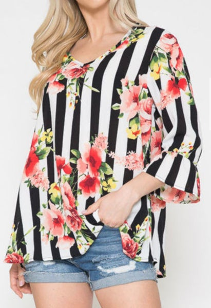 Black & White Striped Floral Bell Sleeve Top