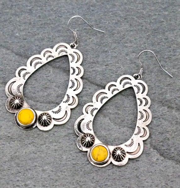 Silver Scalloped Mustard Stone Teardrop Earrings