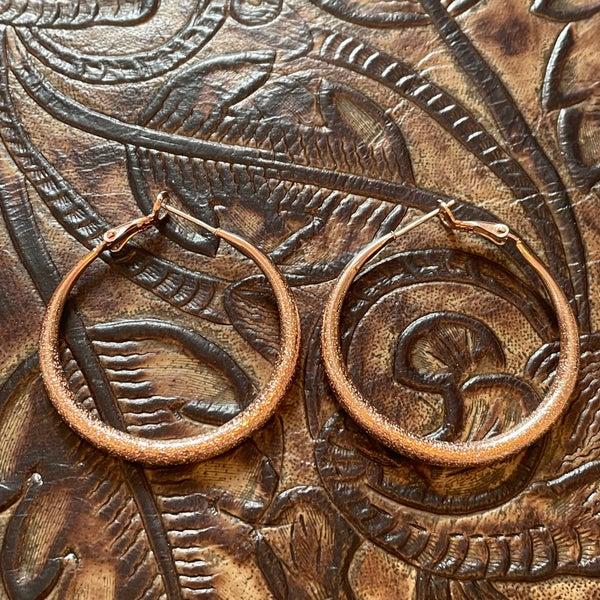 Rose Gold Diamond Cut Hoop Earrings
