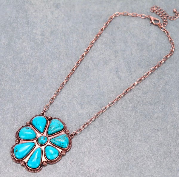 Copper Western Concho Turquoise Stone Pendant Necklace