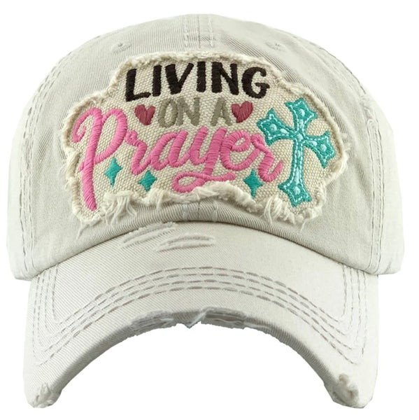 Cream Living on a Prayer Embroidered Hat