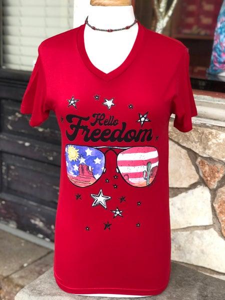 Red V-Neck Hello Freedom Tee