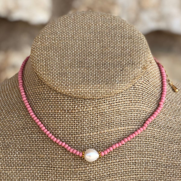 Rose Pink Crystal Choker with Fresh Water Pearl Necklace