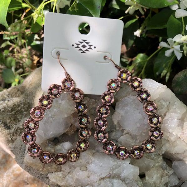 Bronze AB Open Teardrop Earrings