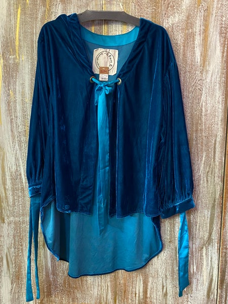Teal Velvet Satin Ribbon Adjustable Jacket