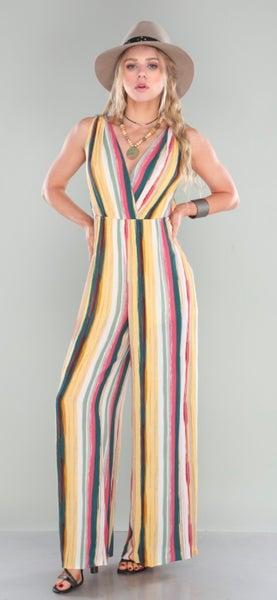 Multi Striped Sleeveless Lined Jumpsuit