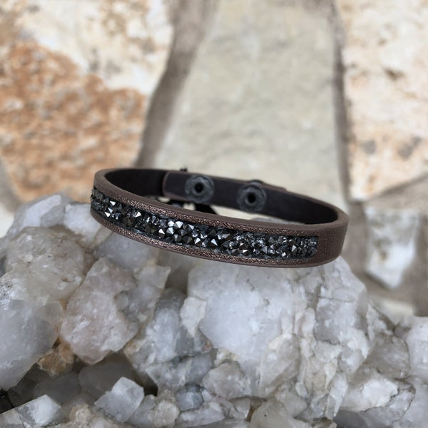 Bronze Leather Snap Crystal Bracelet