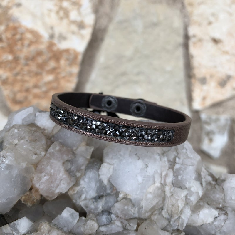 Bronze Leather Snap Crystal Bracelet