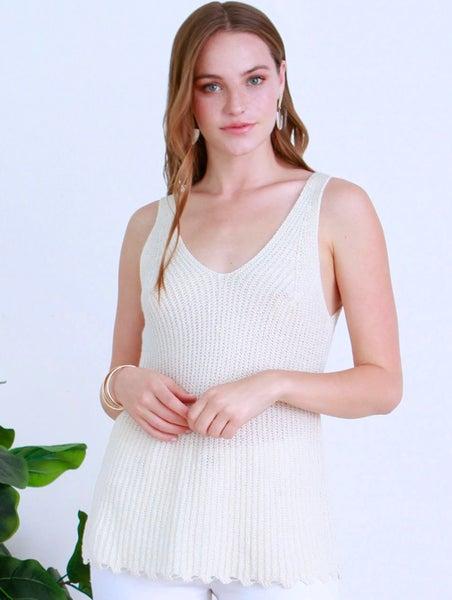 Ivory Callista Sweater Knit V-Neck Tank