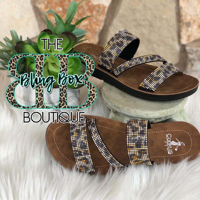 Corkys Kaplan Leopard Rhinestone Sandals