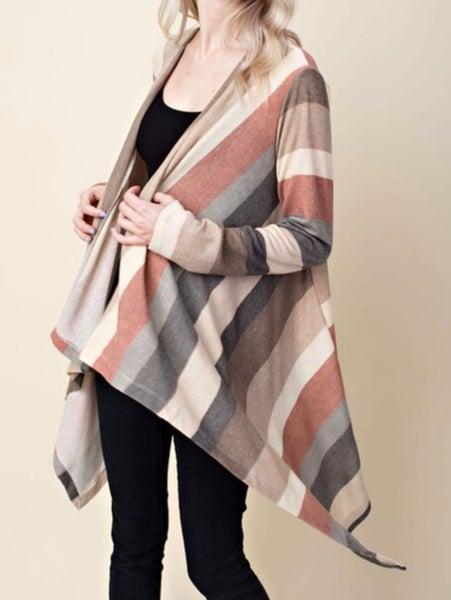 Plus Size Gray Cream Rust Striped Cardigan