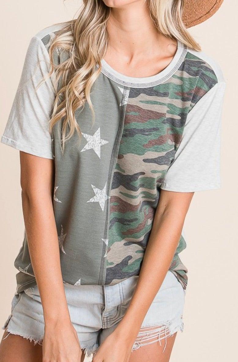 Camo & Stars Short Sleeve Top