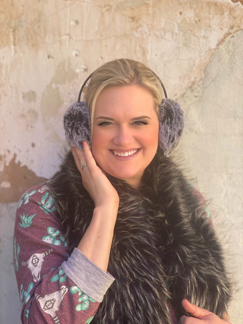Charlie Paige Black White Tipped Earmuffs with Black Non-Adjustable Band