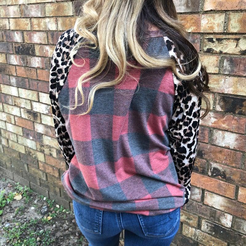Leopard Print Sleeve Buffalo Plaid Tunic